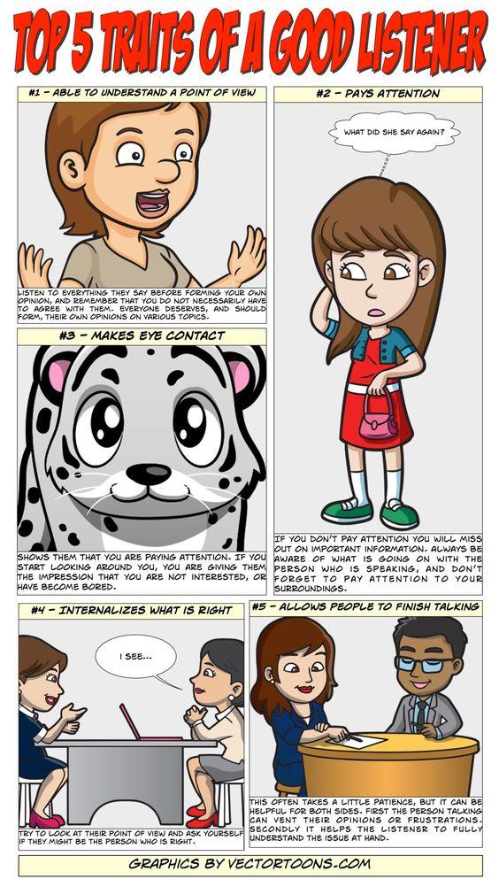 Top 5 Traits Of A Good Listener #comic #cartoon #article #clipart.