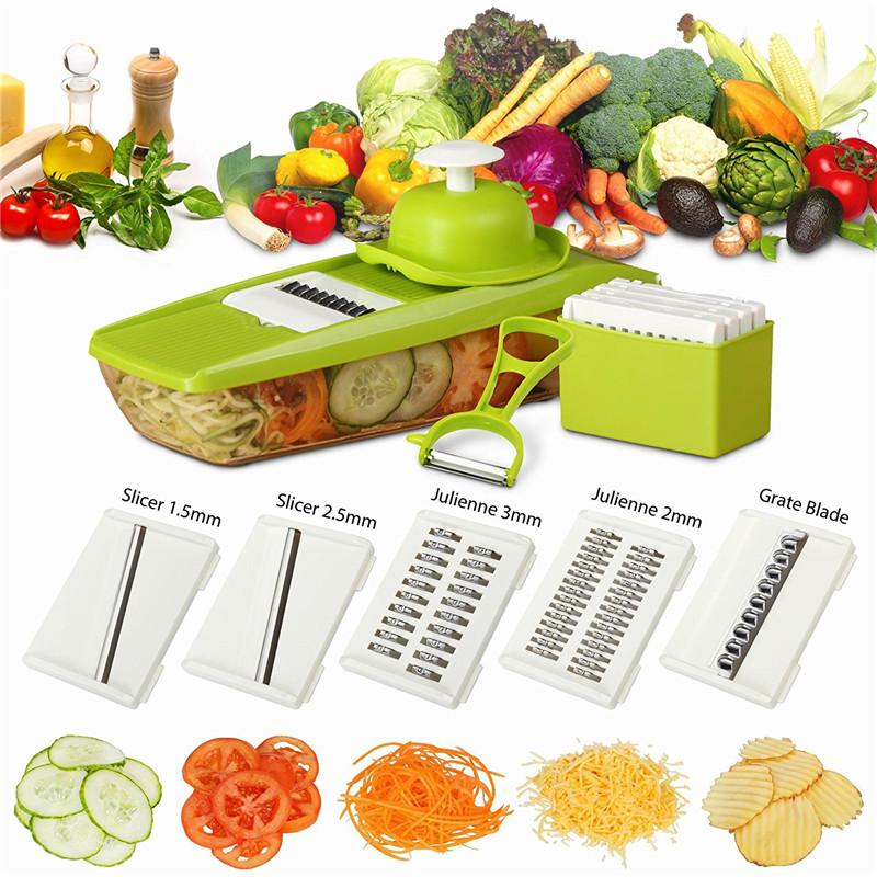 Mandoline Vegetable Slicer Manual Vegetable Cutter 5 Blades.
