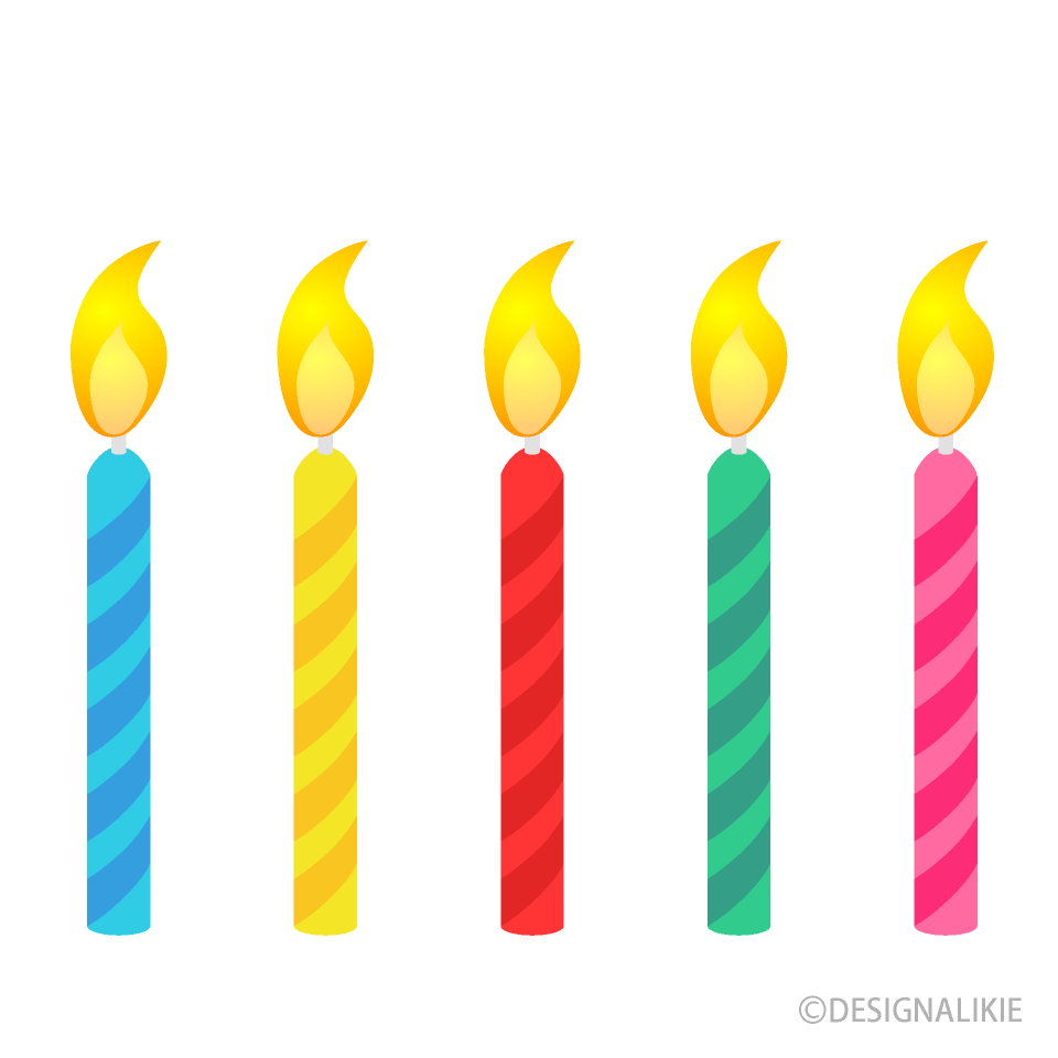 Free 5 Colorful Candles Clipart Image|Illustoon.