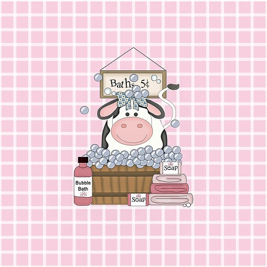 \'Country Girl Cow Bath Day\' Poster by purplesensation.