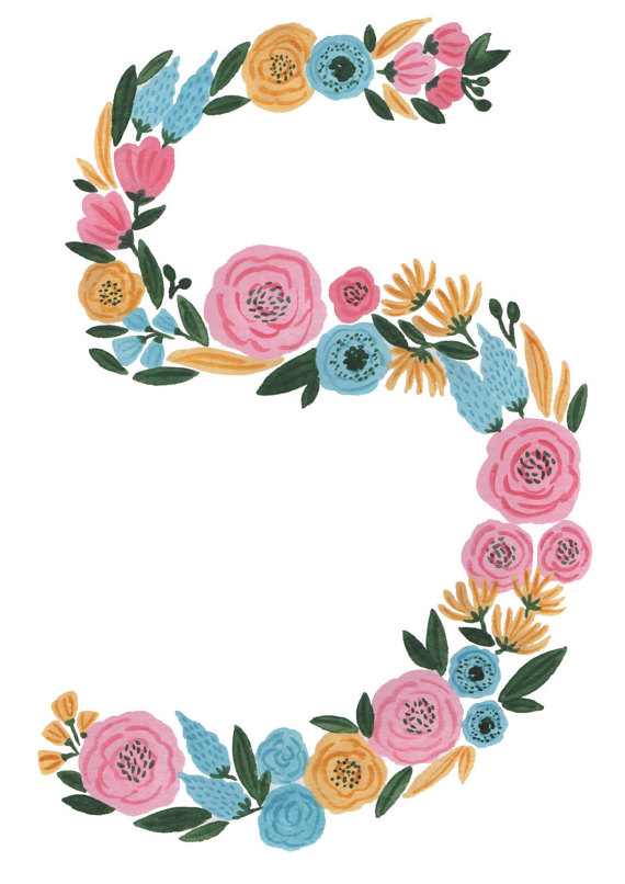 Floral Numbers Print Watercolor clipart, Number five.