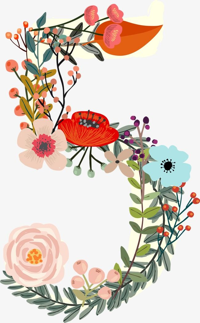 Flowers Number 5, Number Clipart, Digital Flowers, Digital.