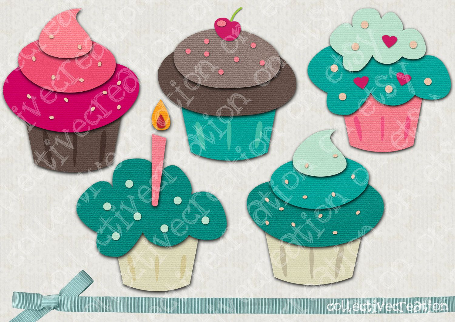 Set of 5 Cupcake Clip Art Turquoise Pink by.