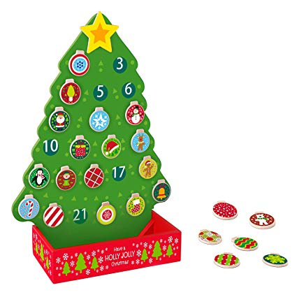 Timy Countdown to Christmas Advent Calendar Wooden Christmas Tree Magnetic  Decoration.