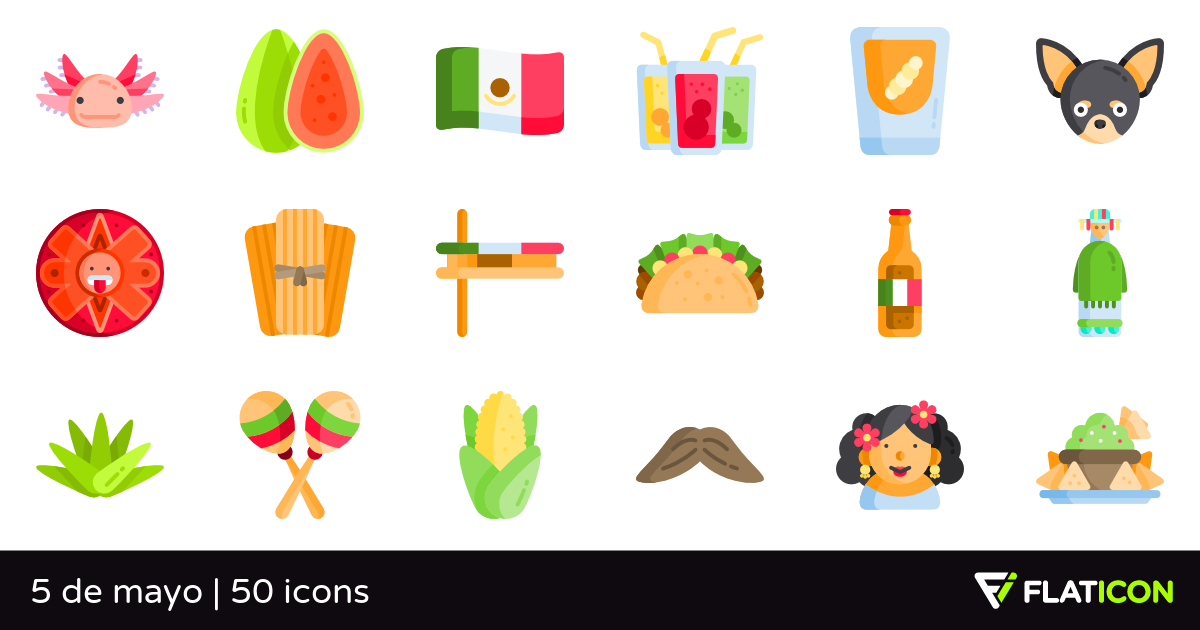 5 de mayo 50 free icons (SVG, EPS, PSD, PNG files).