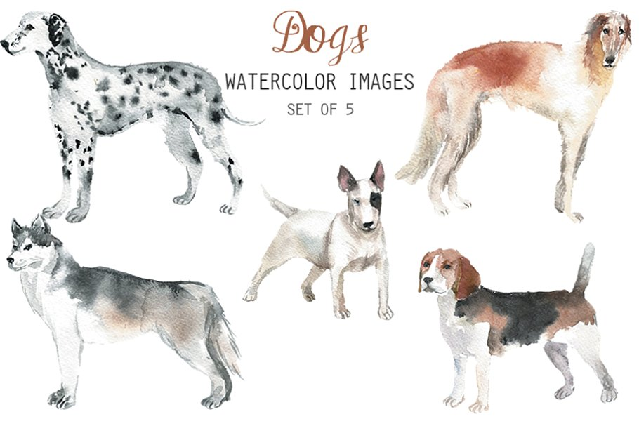 Watercolor Dogs Clipart ~ Illustrations ~ Creative Market.