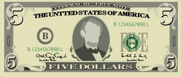 Best Five Dollar Bill Illustrations, Royalty.