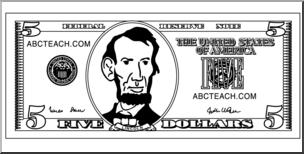Clip Art: Five Dollar Bill Outline Front B&W I abcteach.com.