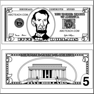 Clip Art: Five Dollar Bill Outline B&W I abcteach.com.
