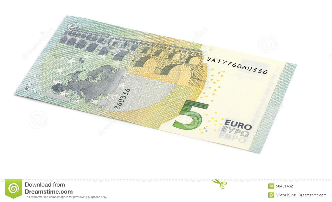 New Five 5 Euro Banknote Greenback Stock Photo.