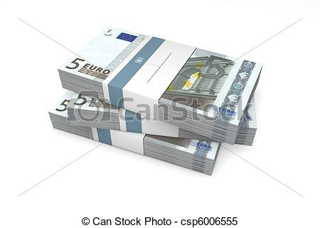 Stock Illustrations of Three Packets of 5 Euro Notes with Bank.