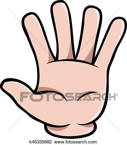 Human cartoon hand showing five fingers Clipart.