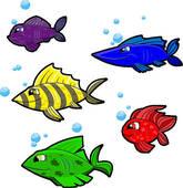 5 colorful cartoon fish on.