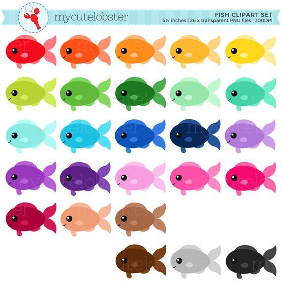 Rainbow Fish Clipart Set.