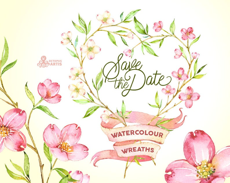 Save the Date. 5 Watercolor Wreaths, flowers clipart, dogwood, wedding  invitation, greeting card, diy clip art, floral, botanical, banner.