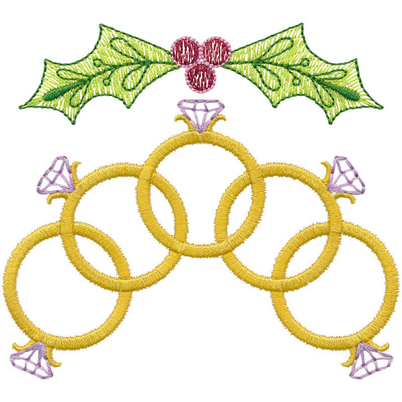 Five Golden Rings embroidery..