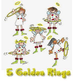 5 golden rings clipart.