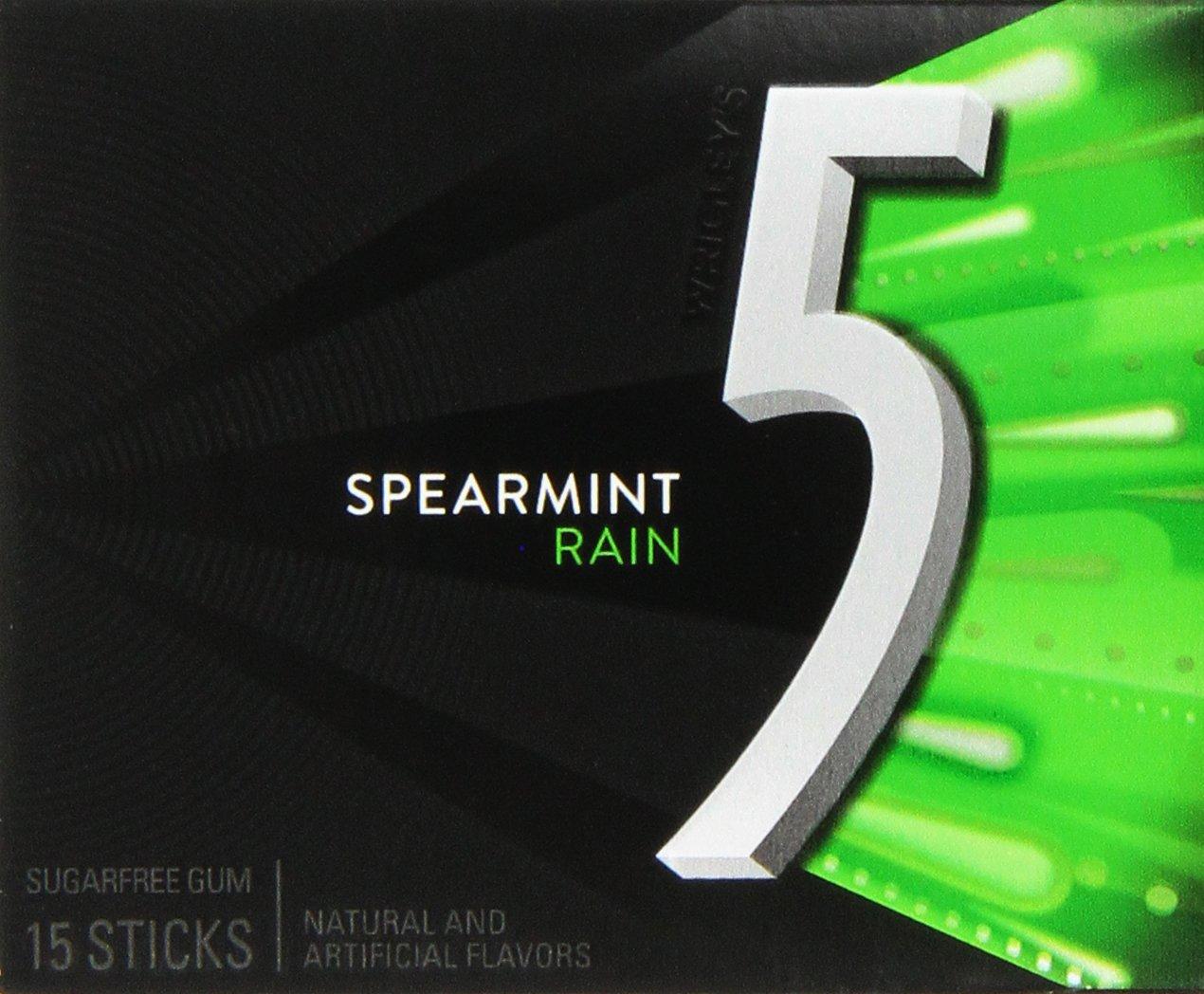 Wrigley\'s 5 Rain Spearmint Gum (12 Packs of 15 Pieces).