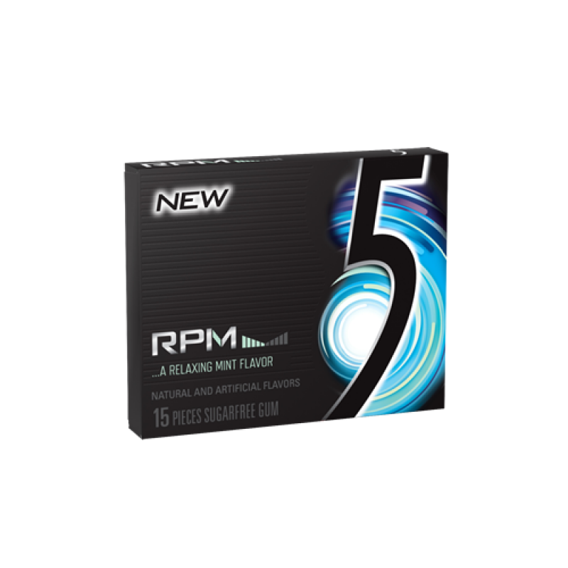 5 Gum RPM Mint 10 X 15 Sticks.