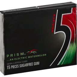 5 Gum, Sugarfree, Watermelon Prism.