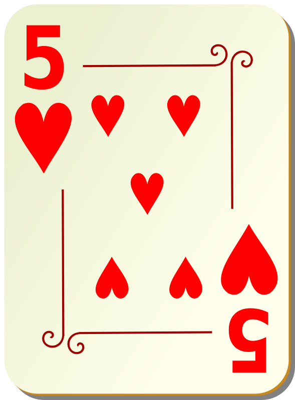 Free Clipart: Ornamental deck: 5 of hearts.