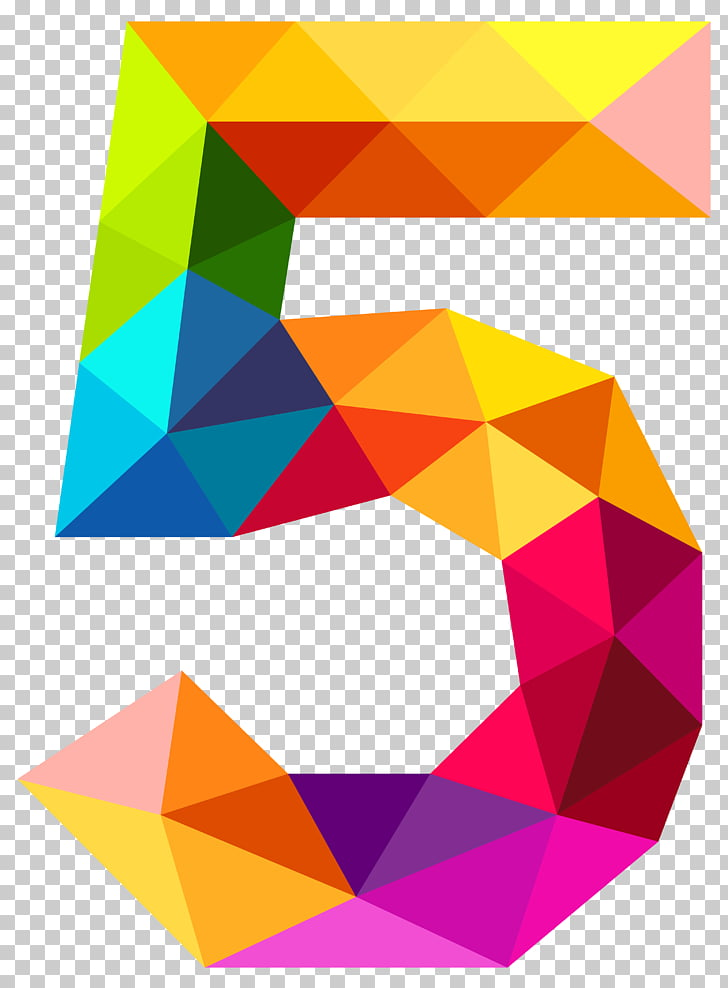 Number , Colourful Triangles Number Five , yellow, blue, and.