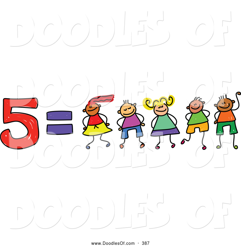 Vector Clipart of a Childs Sketch of Five Equals 5 Kids by Prawny.