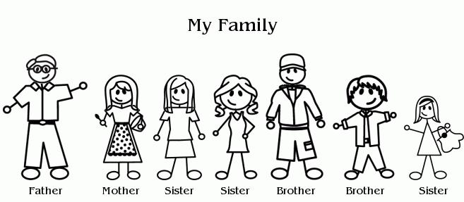 Family With 5 Kids Clipart.