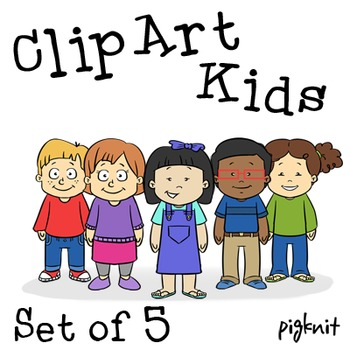 Set of 5 Kids Clip Art png, Cartoon Kids, Boy Clip Art Png, Girl Clip Art  Png.