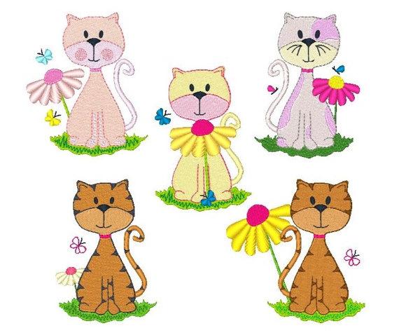 5 Cats Clipart.