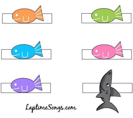 5 Little Fish finger puppet printable color version.