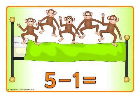 Five Little Monkeys Jumping On The Bed Number Sentence Posters.
