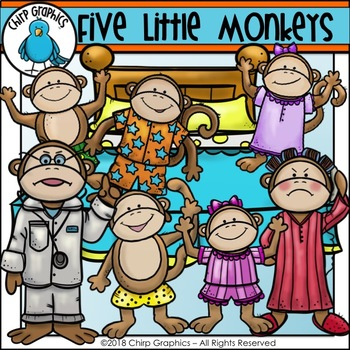 Five Little Monkeys Jumping on the Bed Clip Art Set.