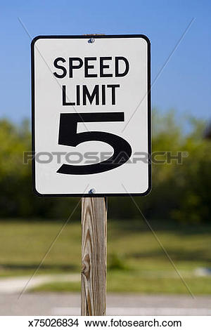 Stock Photo of 5 miles per hour speed limit sign x75026834.