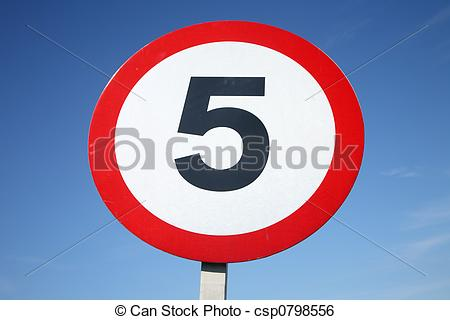 Stock Image of 5 mph sign..