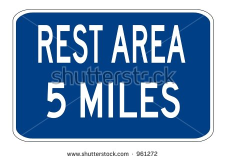 Rest Area 5 Miles Sign Isolated On A White Background Stock Photo.