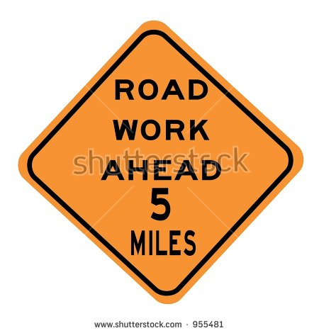 Road Work 1 Mile Ahead Sign Stock Photo 955467.