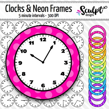 Clock Clip Art ~ Every 5 Minutes ~ With Neon Frames.