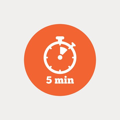 Timer sign icon. 5 minutes stopwatch symbol. Clipart Image.