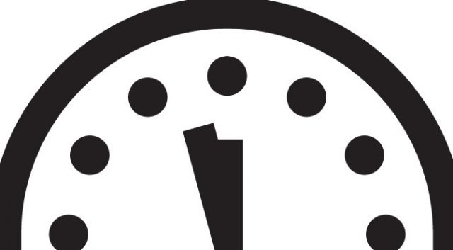 The 'Doomsday Clock' is now at 2.5 minutes to midnight.