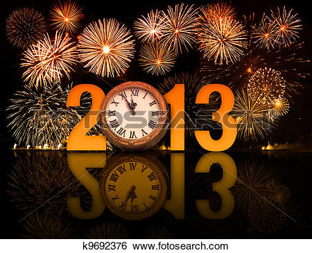 Stock Images of 2013 year with fireworks and clock displaying 5.