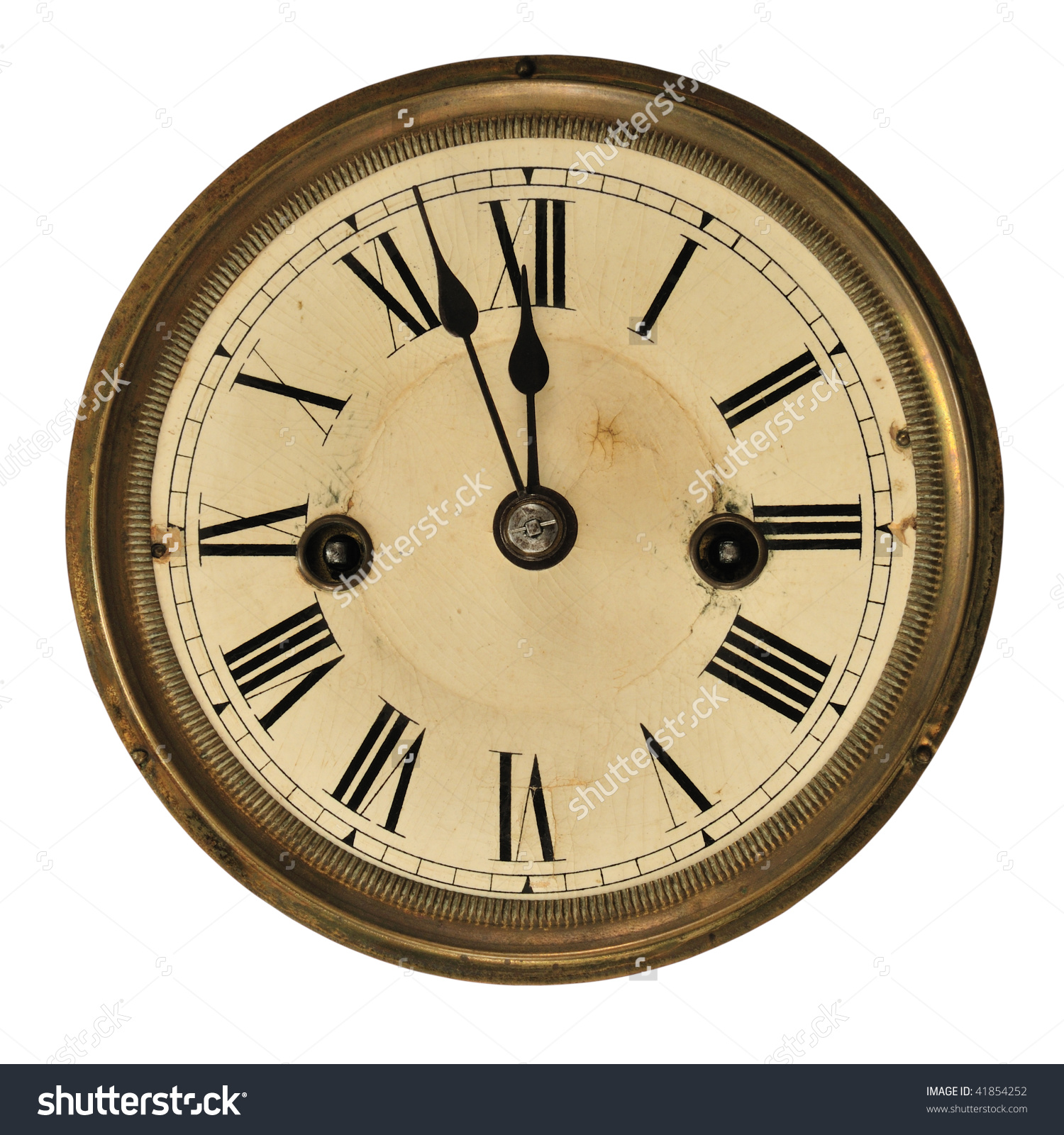 Antique Clock Face Showing Time Three Stock Photo 41854252.