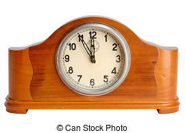 Stock Image of Mysterious clock shows 5 minutes to midnight.