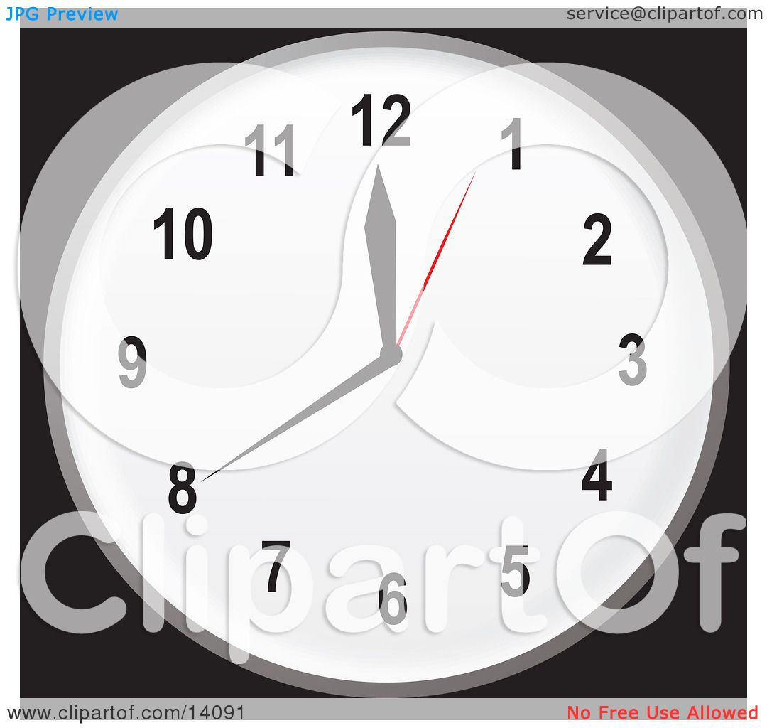 Simple Black And White Wall Clock Showing 20 Minutes Until Noon Or.