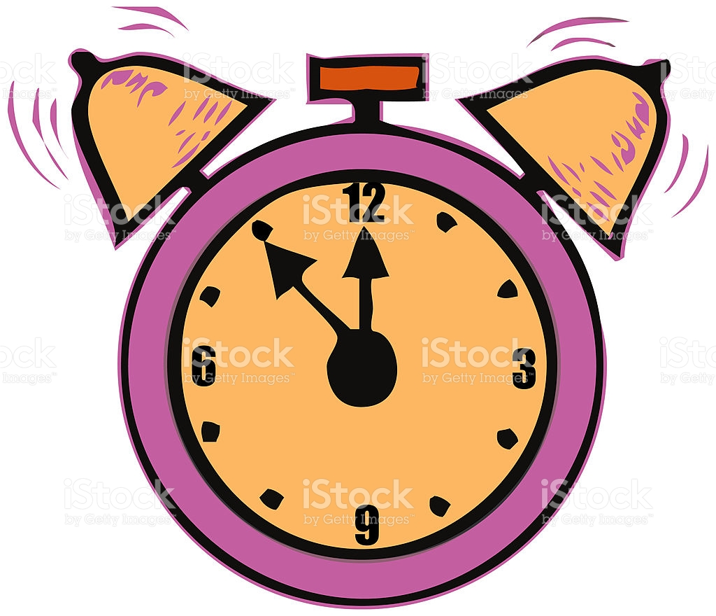 Alarm Clock 5 Minutes To Midnight Time Vector stock vector art.