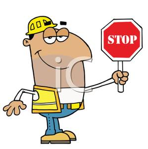 Clipart Picture: A Hispanic Construction Worker with a Five.