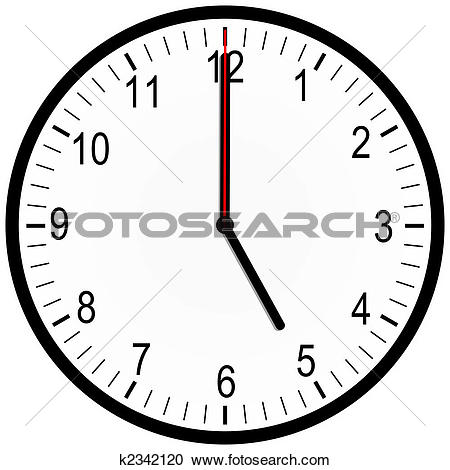 Stock Illustrations of An illustration of an office clock on 5.