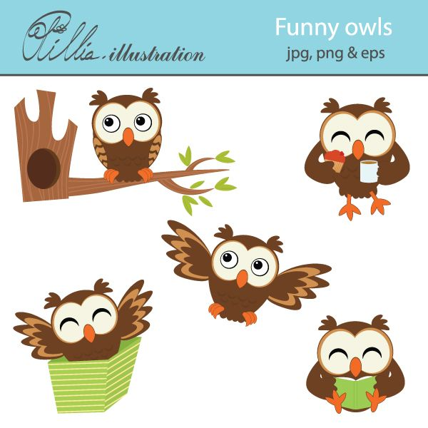 This Funny owls clipart set comes with 5 cliparts featuring.