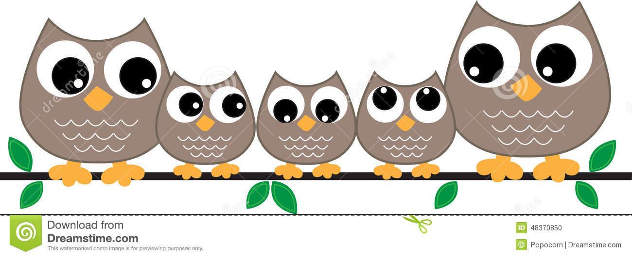 Owl Family Header Or Banner Stock Illustration.