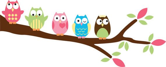 Kids set of 5 owls on a tree branch vinyl wall by.